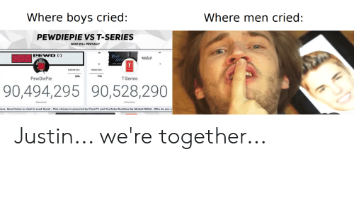 youtube.com, Chat, and Boys: Where boys cried:  Where men cried:  PEWDIEPIE VS T-SERIES  WHO WILL PREVAIL?  Hain  Taar  PEWD E  NetoBek  83%  17%  T-Series  PewDiePie  90,494,295 90,528,290  Subscrbers  Subscribers  here. Send Irules in chat to read them! This stream is powered by FlareTV and YouTube Realtime by Akshat Mittal Who do you s Justin... we're together...