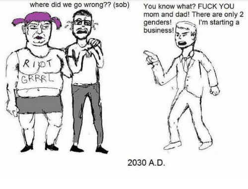 grrr: where did we go wrong?? (sob)  You know what? FUCK YOU  mom and dad! There are only 2  genders!  m starting a  business!  RIYOT  GRRR L  2030 A.D.
