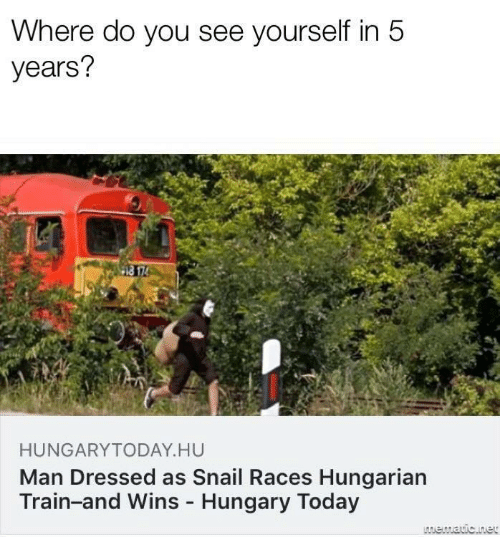 Dressed: Where do you see yourself in 5  years?  HUNGARYTODAY.HU  Man Dressed as Snail Races Hungarian  Train-and Wins - Hungary Today  LAmematic.net