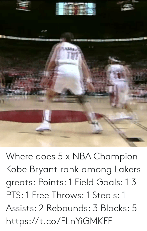 Kobe Bryant: Where does 5 x NBA Champion Kobe Bryant rank among Lakers greats:  Points: 1 Field Goals: 1 3-PTS: 1 Free Throws: 1 Steals: 1 Assists: 2 Rebounds: 3 Blocks: 5   https://t.co/FLnYiGMKFF