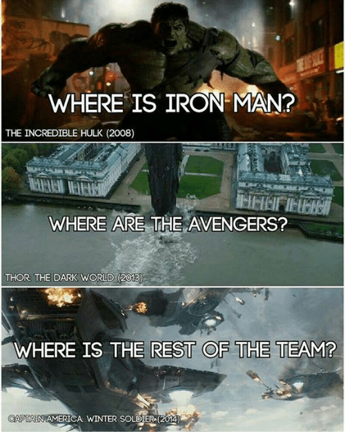team captain america: WHERE IS IRON MAN?  THE INCREDIBLE HULK (2008)  WHERE ARE  THE AVENGERS?  THOR THE DARK WORLD (2013  WHERE IS THE REST OF THE TEAM?  CAPTAIN AMERICA WINTER SOLDIER 20140