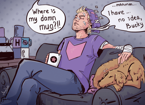 Idea, Bucky, and Damn: Where is  my damn  mug?!!  H  ..mhhmm...  1 have..  no idea,  Bucky  Нiе  Javatais