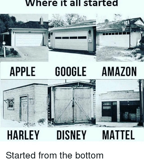 started from the bottom: Where it all started  APPLE GOOGLE AMAZON  HARLEY DISNEY MATTEL Started from the bottom