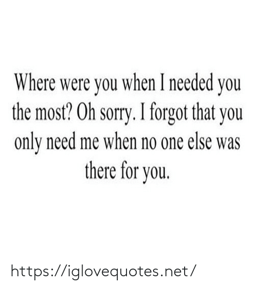 When I: Where were you when I needed you  the most? Oh sorry. I forgot that you  only need me when no one else was  there for you. https://iglovequotes.net/