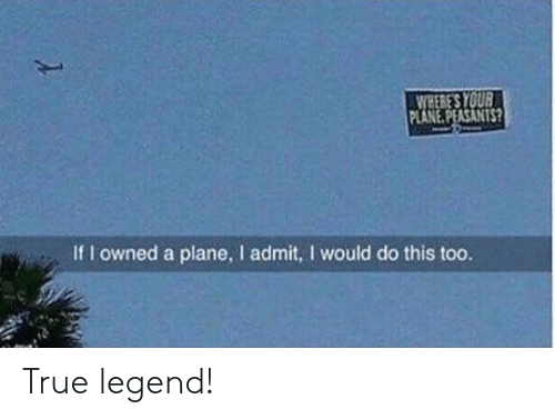owned: WHERE'S YOUR  PLANE.PEASANTS?  If I owned a plane, I admit, I would do this too. True legend!