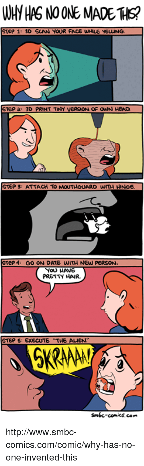 Smbc Comic: WHH HAS NOONE MADE THs?  STEP 1: 3D SCAN YOUR FACE WHALE YEUUNG  STEP a: 3D PRINT TINY VERSAON OF owN HEAD  STEP 3: ATTACH TO MOUTHGUARD WITH HANGE  STEP 4 GO ON DATE WITH NEW PERSON.  YOU HANE  PRETTY HAIR.  STEPS  EXECUTE THE AMEN  smbc-comics.com http://www.smbc-comics.com/comic/why-has-no-one-invented-this