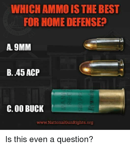 Bucked: WHICH AMMO IS THE BEST  FOR HOME DEFENSE  A. 9MM  B. 45 ACP  C. 00 BUCK  www. National GunRights.org Is this even a question?