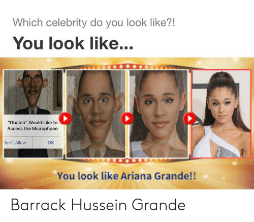 "Ariana Grande, Obama, and Access: Which celebrity do you look like?!  You look like...  ""Obama"" Would Like to  Access the Microphone  Don't Allow  OK  You look like Ariana Grande!! Barrack Hussein Grande"