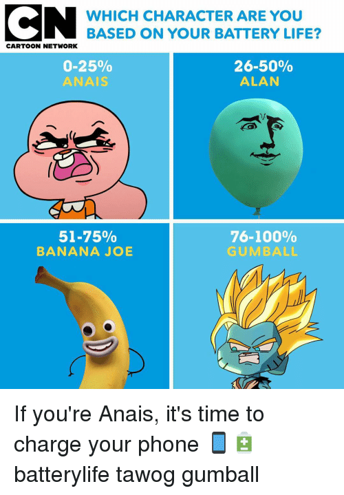 Anaconda, Cartoon Network, and Life: WHICH CHARACTER ARE YOU  BASED ON YOUR BATTERY LIFE?  CARTOON NETWORK  0-25%  ANAIS  26-50%  ALAN  51-75%  BANANA JOB  76-100%  GUMBALL If you're Anais, it's time to charge your phone 📱🔋 batterylife tawog gumball