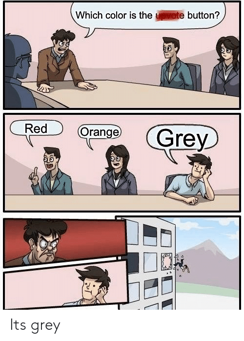 Grey, Orange, and Red: Which color is the upvote button?  Red  Orange  Grey Its grey