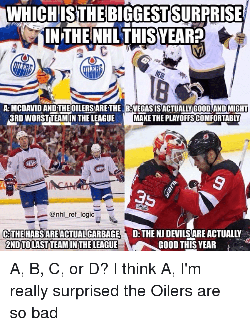 habs: WHICH  ISTHEBIGGESTSURPRI  SE  IN THE NHL THISYEARP  A: MCDAVID AND THE OILERS ARETHE B:VEGASISACTUALLY GOOD AND MIGHT  3RD WORSTTEAMIN THE LEAGUEMAKE THE PLAYOFFSCOMFORTABLY  ー_ @nhl_ret_log.c  D THE NJ DEVILS ARE ACTUALLY  GOOD THIS YEAR  THE HABS ARE ACTUAL GARBAGE  2NDTOLAST TEAM IN THE LEAGUE A, B, C, or D? I think A, I'm really surprised the Oilers are so bad