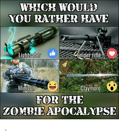 minigun: WHICH WOULD  YOU RATHER HAVE  Lightsaber  Sniper rifle  Minigun  Claymore  FOR THE  TOMBIEAPOCALYPSE .