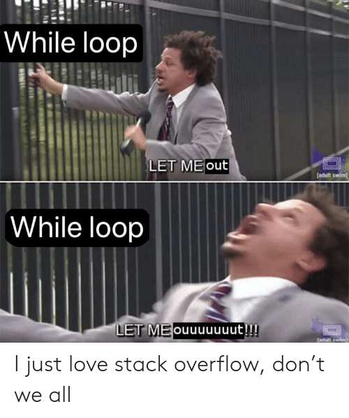 let me out: While loop  LET ME out  adult swim  While loop  LET MEouuuuuuut!!! I just love stack overflow, don't we all