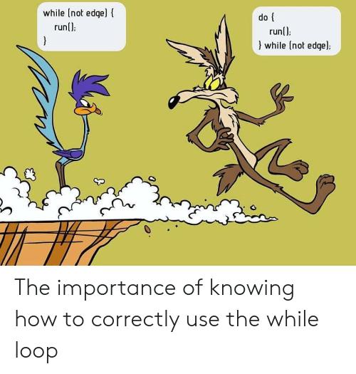 Run, How To, and How: while (not edqel  runl):  do  run();  }  while (not edge); The importance of knowing how to correctly use the while loop