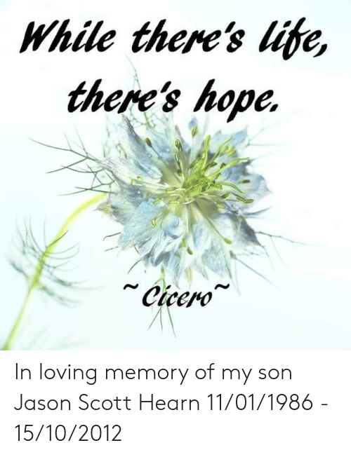 Life, Memes, and Cicero: While there's life,  there's hope.  Cicero In loving memory of my son Jason Scott Hearn   11/01/1986 - 15/10/2012