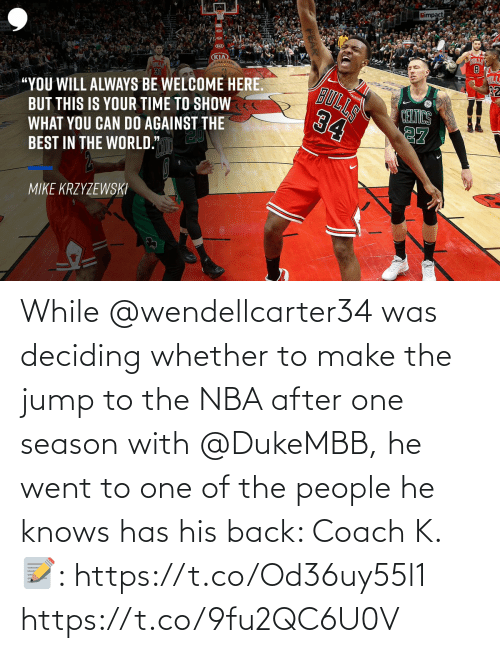 Of The People: While @wendellcarter34 was deciding whether to make the jump to the NBA after one season with @DukeMBB, he went to one of the people he knows has his back: Coach K.  📝: https://t.co/Od36uy55l1 https://t.co/9fu2QC6U0V