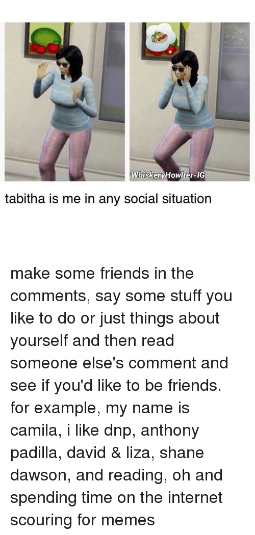 Just Things: WhiskeryHowlter-IG  tabitha is me in any social situation make some friends in the comments, say some stuff you like to do or just things about yourself and then read someone else's comment and see if you'd like to be friends. for example, my name is camila, i like dnp, anthony padilla, david & liza, shane dawson, and reading, oh and spending time on the internet scouring for memes