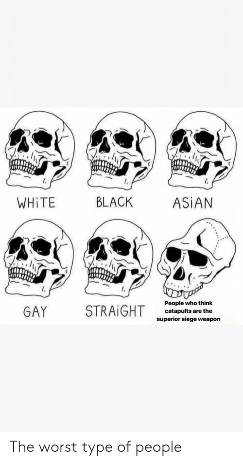 asian gay: WHİTE  BLACK  ASİAN  GAY  STRAIGHT  People who think  catapults are the  superior siege weapon The worst type of people