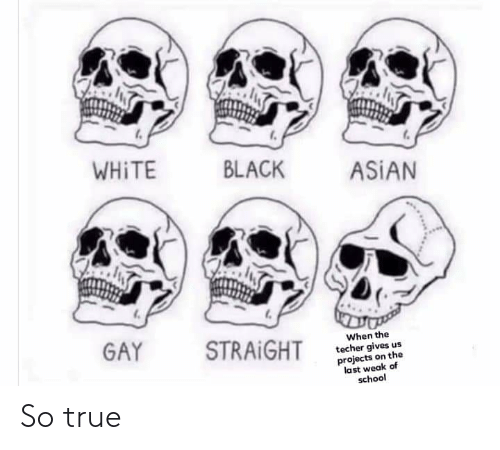 asian gay: WHITE  BLACK  ASIAN  GAY  STRAIGHT  When the  techer gives us  projects on the  last weak of  school So true