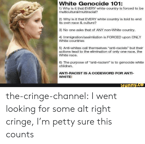 """White Genocide: White Genocide 101:  1) Why is it that EVERY white country is forced to be  multicultural/multiracial?  2) Why is it that EVERY white country is told to end  its own race & culture?  3) No one asks that of ANY non-White country.  4) Immigration/assimilation is FORCED upon ONLY  White countries  5) Anti-whites call themselves """"anti-racists"""" but their  actions lead to the elimination of only one race, the  White race.  6) The purpose of """"anti-racism"""" is to genocide white  children.  ANTI-RACIST IS A CODEWORD FOR ANTI-  WHITE!  ifynny.co the-cringe-channel:  I went looking for some alt right cringe, I'm petty sure this counts"""