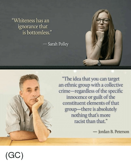"""Crime, Memes, and Target: """"Whiteness has an  ignorance that  is bottomless.""""  Sarah Polley  The idea that you can target  an ethnic group with a collective  crime-regardless of the specific  innocence or guilt of the  constituent elements of that  group-there is absolutely  nothing that's more  racist than that.""""  Jordan B. Peterson (GC)"""