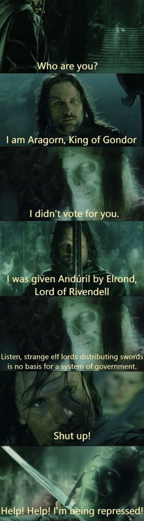 Government: Who are you?  I am Aragorn, King of Gondor  I didn't vote for you.  I was given Andúril by Elrond,  Lord of Rivendell  Listen, strange elf lords distributing swords  is no basis for a system of government.  Shut up!  Help! Help! I'm being repressed!