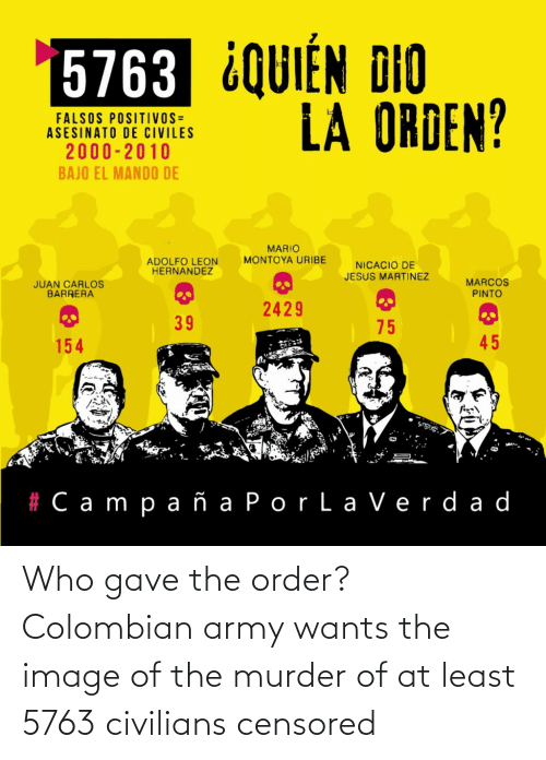 Civilians: Who gave the order? Colombian army wants the image of the murder of at least 5763 civilians censored