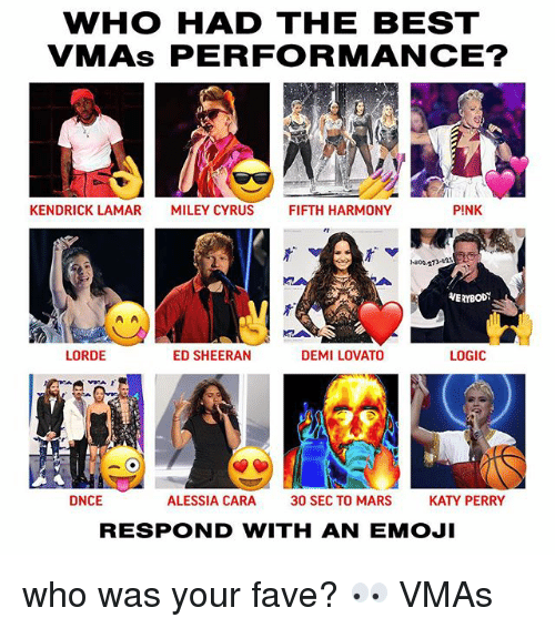 VMAs: WHO HAD THE BEST  VMAs PERFORMANCE?  KENDRICK LAMAR  MILEY CYRUS  FIFTH HARMONY  PINK  -800-273-as  VERYBODY  LORDE  ED SHEERAN  DEMI LOVATO  LOGIC  IA  フ「  DNCE  ALESSIA CARA  30 SEC TO MARS  KATY PERRY  RESPOND WITH AN EMOJI who was your fave? 👀 VMAs