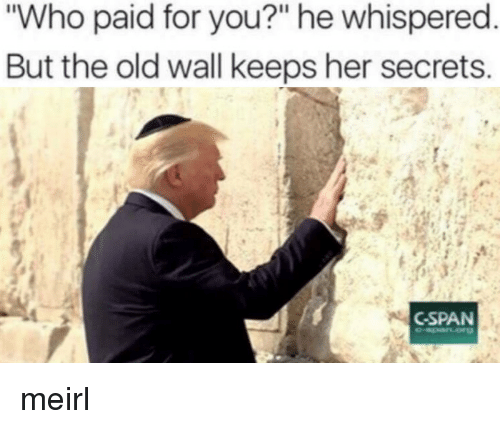 """cspan: Who paid for you?"""" he whispered  But the old wall keeps her secrets  CSPAN meirl"""