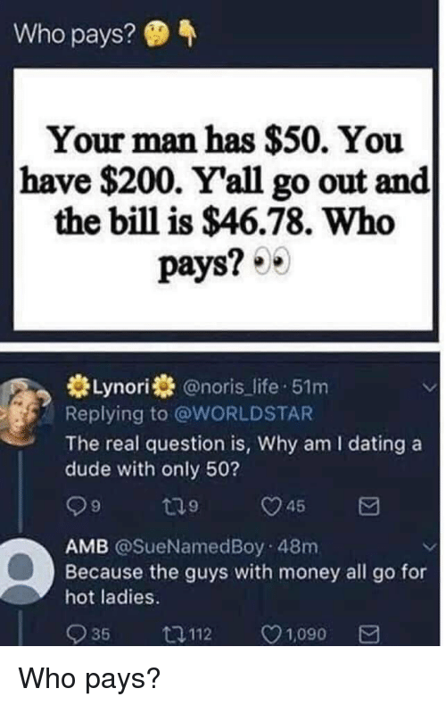 Bailey Jay, Dating, and Dude: Who pays?  Your man has $50. You  have $200. Yall go out and  the bill is $46.78. Who  pays?  米Lynorist @noris-life-51m  Replying to @WORLDSTAR  The real question is, Why am I dating a  dude with only 50?  AMB @SueNamedBoy 48m  Because the guys with money all go for  hot ladies.  935  口112  C  1,090 Who pays?