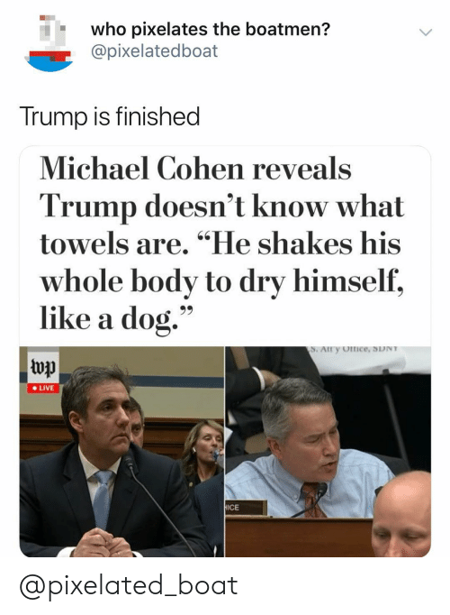 "Live, Michael, and Trump: who pixelates the boatmen?  @pixelatedboat  Trump is finished  Michael Cohen reveals  Trump doesn't know what  towels are. ""He shakes his  whole body to dry himself,  like a dog.""  top  e LIVE  ICE @pixelated_boat"