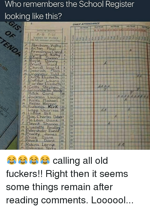 mclean: Who remembers the School Register  looking like this?  OAM ATTENOANCE.  NAMES  Acton ea  The  Bono  colorach  ufour Laura  Hoc Elizabeth  13  Gotta, Stephon  M Kales Michae  Charles Danii  McLean Diane  m. Powley Joanes  Robins Larr 😂😂😂😂 calling all old fuckers!! Right then it seems some things remain after reading comments. Loooool...