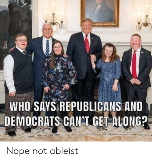 Nope, Who, and Republicans: WHO SAYS REPUBLICANS AND  DEMOCRATS CANT GET ALONG? Nope not ableist