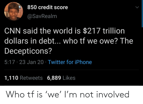 Involved: Who tf is 'we' I'm not involved