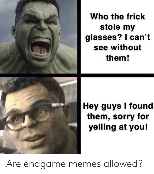 Frick, Memes, and Sorry: Who the frick  stole my  glasses? I can't  see without  them!  Hey guys I found  them, sorry for  yelling at you! Are endgame memes allowed?