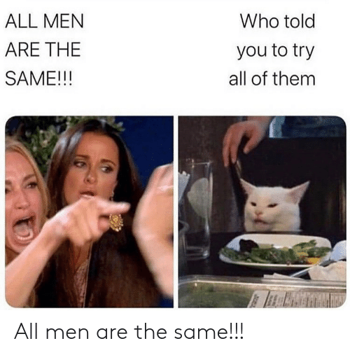 Men Are: Who told  ALL MEN  ARE THE  you to try  SAME!!!  all of them All men are the same!!!