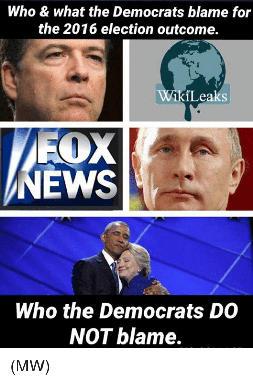 2016 Elections: Who & what the Democrats blame for  the 2016 election outcome.  ikiLeaks  FOX  EWS  Who the Democrats DO  NOT blame. (MW)