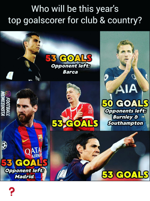 Airway: Who will be this year's  top goalscorer for club & country?  53 GOALS  Opponent left:  Barca  ades  hu  AIA  50 GOALS  Opponents left:  Burnley 8 a  53 GOALS Southampton  QATA  AIRWAY  53 GOALS  opponent left  Madrid  53 GOALS ❓