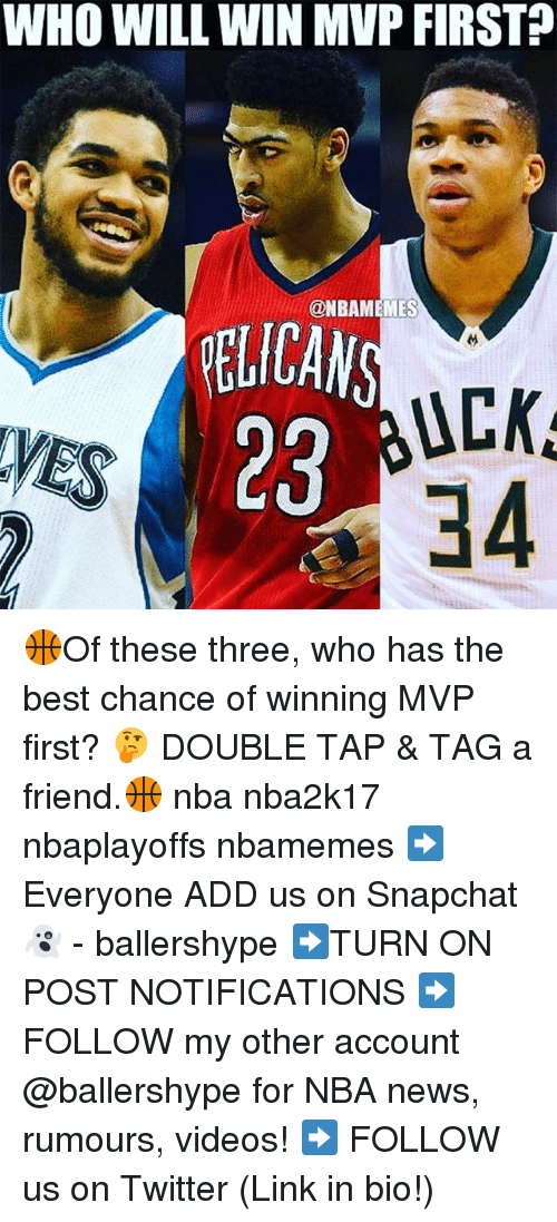 pelican: WHO WILL WIN MVP FIRST  ONBAMEMES  PELICAN  UCK  28  34 🏀Of these three, who has the best chance of winning MVP first? 🤔 DOUBLE TAP & TAG a friend.🏀 nba nba2k17 nbaplayoffs nbamemes ➡Everyone ADD us on Snapchat 👻 - ballershype ➡TURN ON POST NOTIFICATIONS ➡ FOLLOW my other account @ballershype for NBA news, rumours, videos! ➡ FOLLOW us on Twitter (Link in bio!)