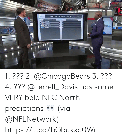 davis: WHO WINS THE NFC NORTH?  2018 STANDINGS  BEARS  VIKINGS  PACKERS  LIONS 1. ??? 2. @ChicagoBears 3. ??? 4. ???  @Terrell_Davis has some VERY bold NFC North predictions 👀 (via @NFLNetwork) https://t.co/bGbukxa0Wr