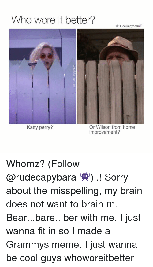Grammys Meme: Who wore it better?  @Rude Capybarav  Or Wilson from home  Katty perry?  improvement? Whomz? (Follow @rudecapybara 👾) .! Sorry about the misspelling, my brain does not want to brain rn. Bear...bare...ber with me. I just wanna fit in so I made a Grammys meme. I just wanna be cool guys whoworeitbetter