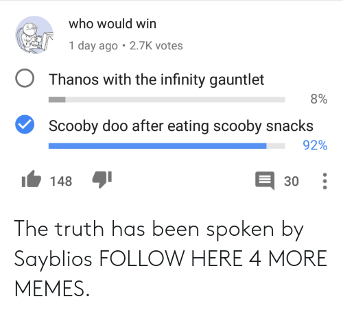 Dank, Memes, and Scooby Doo: who would win  1 day ago 2.7K votes  OThanos with the infinity gauntlet  8%  Scooby doo after eating scooby snacks  92%  30  148 The truth has been spoken by Sayblios FOLLOW HERE 4 MORE MEMES.