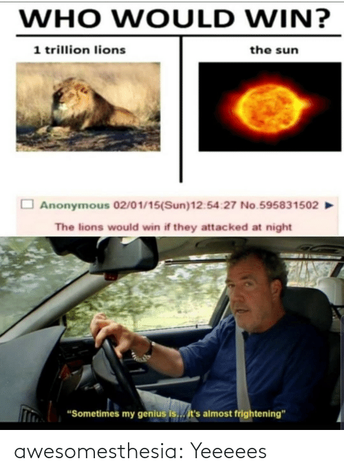"the sun: WHO WOULD WIN?  1 trillion lions  the sun  Anonymous 02/01/15(Sun)12:54:27 No.595831502  The lions would win if they attacked at night  ""Sometimes my genius is... it's almost frightening"" awesomesthesia:  Yeeeees"