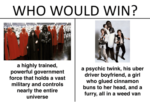 buns: WHO WOULD WIN?  a highly trained,  powerful government  force that holds a vast  military and controls  nearly the entire  universe  a psychic twink, his uber  driver boyfriend, a girl  who glued cinnamon  buns to her head, and a  furry, all in a weed van