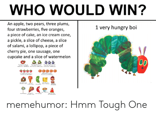 Pears: WHO WOULD WIN?  An apple, two pears, three plums,  four strawberries, five oranges,  a piece of cake, an ice cream cone,  a pickle, a slice of cheese, a slice  of salami, a lollipop, a piece of  cherry pie, one sausage, one  cupcake and a slice of watermelon  1 very hungry boi memehumor:  Hmm Tough One