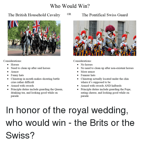 existent: Who Would Win?  OR  The British Household Cavalry  The Pontifical Swiss Guard  Considerations  Considerations  e Horses  » Need to clean up after said horses  e Armor  » Funny hats  * Chinstrap in mouth makes shouting battle  » No horses  * No need to clean up after non-existent horses  » More armor  * Funnier hats  * Chinstrap actually located under the chin  cries rather difficult  Armed with swords  Principle duties include guarding the Queen,  drinking tea, and looking good while oin  parade  where it's supposed to be  » Armed with swords AND halberds  * Principle duties include guarding the Pope,  »  *  eating cheese, and looking good while on  parade In honor of the royal wedding, who would win - the Brits or the Swiss?