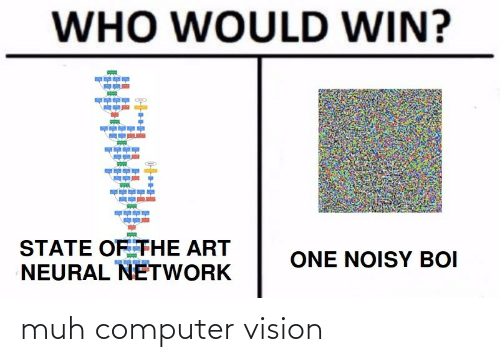 state: WHO WOULD WIN?  STATE OF THE ART  NEURAL NETWORK  ONE NOISY BOI muh computer vision