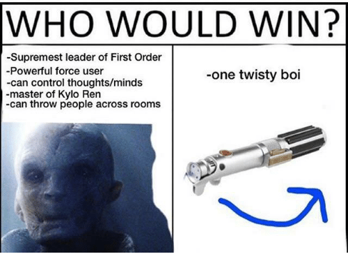 Kylo Ren, Control, and Powerful: WHO WOULD WIN?  -Supremest leader of First Order  Powerful force user  -can control thoughts/minds  -master of Kylo Ren  -can throw people across rooms  -one twisty boi