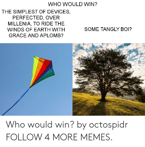 Winds: WHO WOULD WIN?  THE SIMPLEST OF DEVICES  PERFECTED, OVER  MILLENIA, TO RIDE THE  SOME TANGLY BOI?  WINDS OF EARTH WITH  GRACE AND APLOMB? Who would win? by octospidr FOLLOW 4 MORE MEMES.