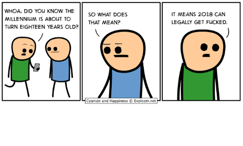 millennium: WHOA, DID YOu KNOW THE  MILLENNIUM IS ABOUT TO  TURN EIGHTEEN YEARS OLD?  SO WHAT DOES  THAT MEAN?  T MEANS 2018 CAN  LEGALLY GET FUCKED.  Ч Cyanide and Happiness e Explosm.netP